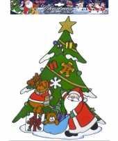 Kerst raamsticker kerstman met rendier trend