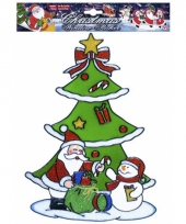 Kerst raamsticker sneeuwpop en kerstman trend