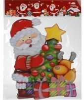 Kerst raamstickers raamdecoratie 3d kerstman 25 x 34 cm trend