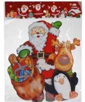 Kerst raamstickers raamdecoratie 3d kerstman pinguin 25 x 34 cm trend