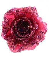 Kerst roze glitter roos met clip trend