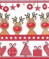 Kerst servetten 4 red noses trend