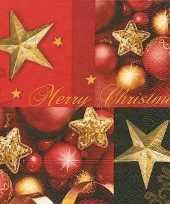 Kerst servetten merry christmas rood goud 20 stuks trend