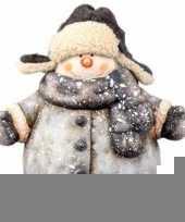 Kerst sneeuwpop beeldje 19 cm met jas trend