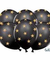 Kerst sterren ballonnen zwart met goud trend