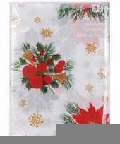 Kerst thema tafelkleed wit met kerststukjes 180 x 130 cm trend