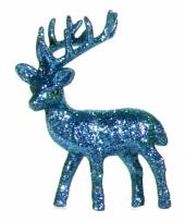 Kerst turquoise rendier vensterbank versiering 10 cm trend