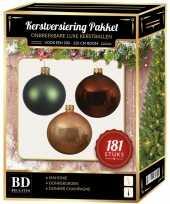 Kerstbal en piek set 181x champagne bruin groen voor 210 cm boom trend