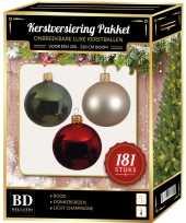 Kerstbal en piek set 181x champagne groen rood voor 210 cm boom trend