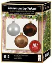 Kerstbal en piek set 181x champagne wit bruin voor 210 cm boom trend
