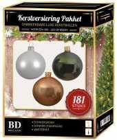 Kerstbal en piek set 181x champagne wit groen voor 210 cm boom trend