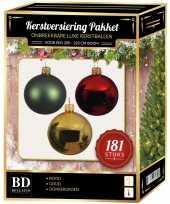 Kerstbal en piek set 181x goud groen rood voor 210 cm boom trend
