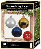 Kerstbal en piek set 181x goud wit blauw voor 210 cm boom trend