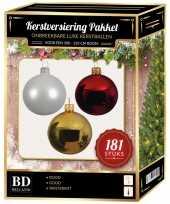 Kerstbal en piek set 181x goud wit rood voor 210 cm boom trend