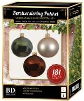 Kerstbal en piek set 181x parel bruin groen voor 210 cm boom trend