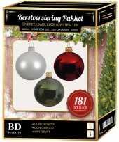 Kerstbal en piek set 181x wit donkerrood groen voor 210 cm boom trend