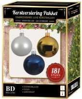 Kerstbal en piek set 181x wit goud blauw voor 210 cm boom trend