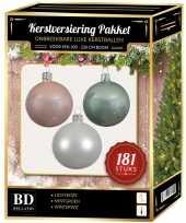 Kerstbal en piek set 181x wit mintgroen lichtroze voor 210 cm bo trend