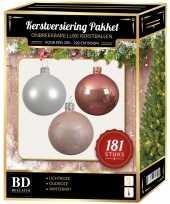 Kerstbal en piek set 181x wit roze lichtroze voor 210 cm boom trend