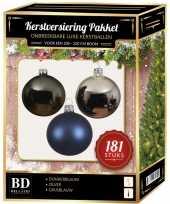 Kerstbal en piek set 181x zilver grijsblauw blauw voor 210 cm bo trend