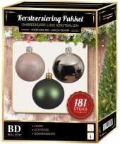 Kerstbal en piek set 181x zilver groen roze voor 210 cm boom trend