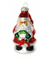 Kerstbal kerstman met krans 8 cm trend