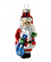 Kerstbal kerstman met zak 8 cm trend