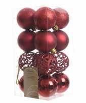 Kerstbal pakket glanzend rood 6 cm trend