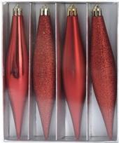 Kerstbal pegel rood 15 cm trend