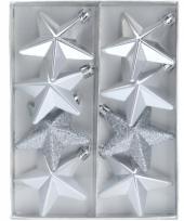 Kerstbal ster zilver 6 5 cm trend