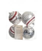 Kerstbal zilver sneeuwvlok 4 stuks 8 cm trend