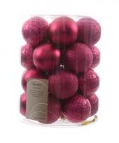 Kerstballen mix fuchsia roze 26 stuks trend