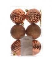 Kerstballen mix koper 6 stuks trend