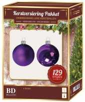 Kerstballen set kunststof 129 delig voor 180 cm boom paars trend
