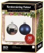 Kerstballen set kunststof 90 delig voor 150cm zilver donkerblauw trend