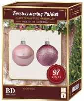 Kerstballen set kunststof 97 delig voor 150 cm boom lichtroze trend