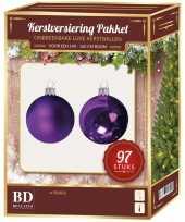 Kerstballen set kunststof 97 delig voor 150 cm boom paars tinten trend