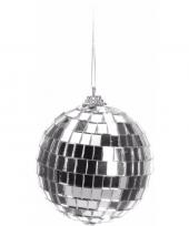 Kerstboom decoratie discobal zilver 8 cm trend