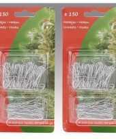 Kerstboom decoratie kerstbalhaakjes zilver 300 stuks trend