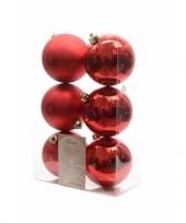 Kerstboom decoratie kerstballen mix rood 12 stuks trend