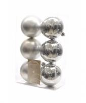 Kerstboom decoratie kerstballen mix zilver 12 stuks trend