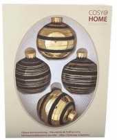 Kerstboom decoratie kerstballen mix zwart goud 4 stuks van glas trend