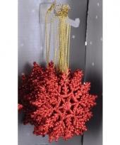 Kerstboom decoratie rode glitter sneeuwvlok 10 cm type 2 trend