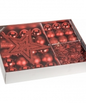 Kerstboom decoratie set 33 delig rood trend