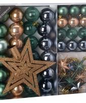 Kerstboom decoratie set 45 delig brons groen grijs trend