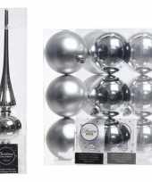 Kerstboom decoratie zilver piek en 12x kerstballen 8 cm trend