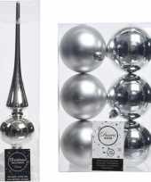 Kerstboom decoratie zilver piek en 6x kerstballen 8 cm trend
