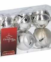 Kerstboom decoratie zilveren kerstbellen 6 stuks trend