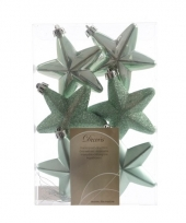 Kerstboom hangers mintgroen sterren 6x trend