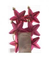 Kerstboom hangers roze sterren 6x trend